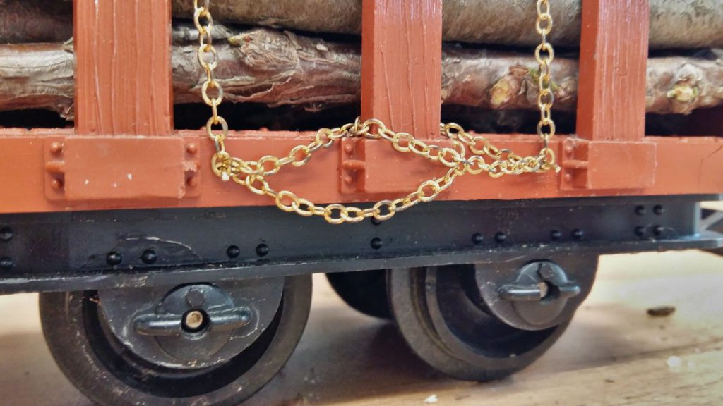 Chains hooked into place.