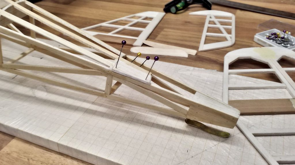 The horizontal stabilizer's guide is in progress.