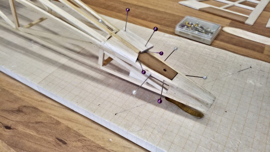 The tailplane's mounting base is glued in.
