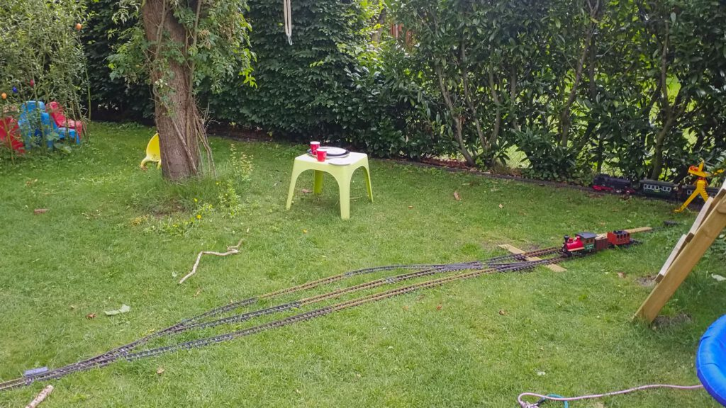 Mix of portable track and fixed layout.