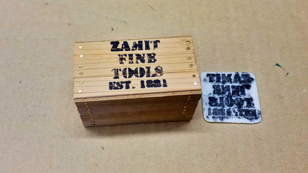 The labelled crate.