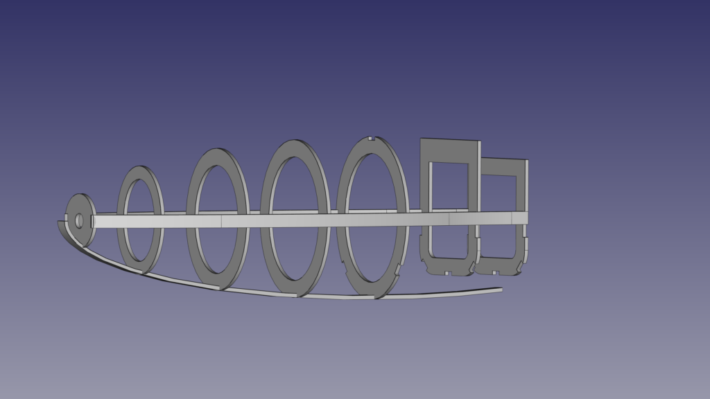 Based on the ellipsoid belly stringer, the new frames are dimensioned.
