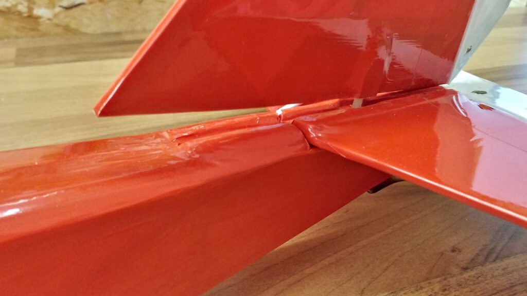 The vertical stabilizer's threads are ripped out, too.