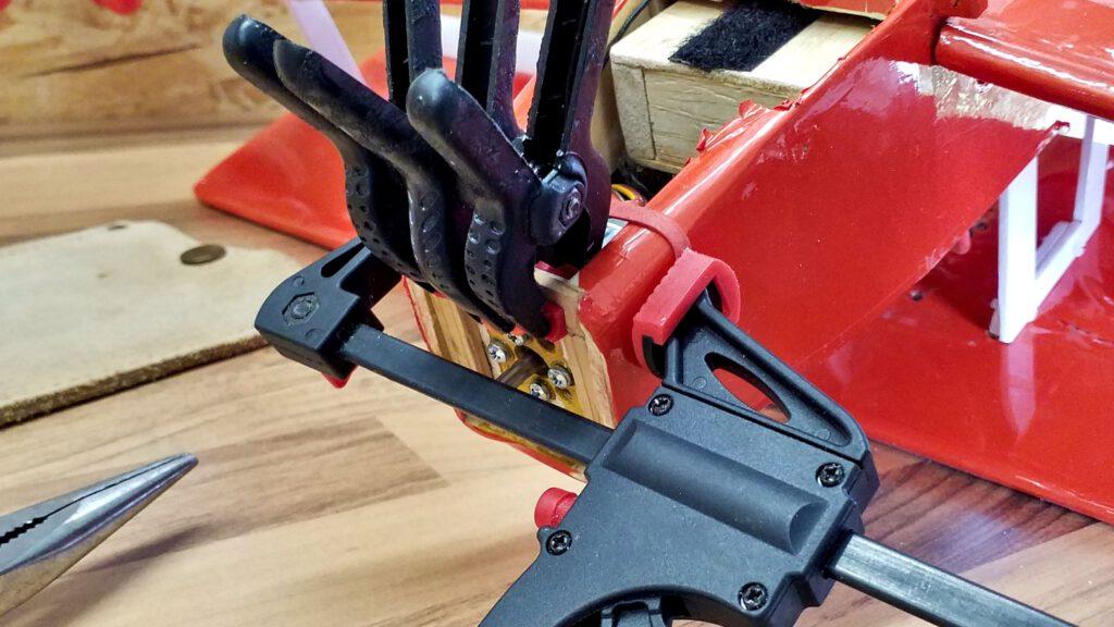 Additional stiffening using red cedar.